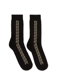 Versace Black And Gold Greek Key Socks