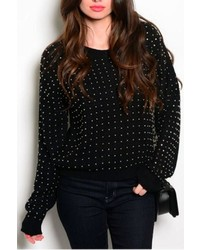 Solo Fashion New York Studded Detail Sweater