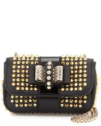 Black and Gold Studded Leather Crossbody Bag