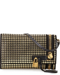 Tom Ford Alix Small Studded Zip Padlock Crossbody Bag Black