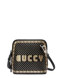 Gucci Guccy Logo Moon Stars Leather Crossbody Bag