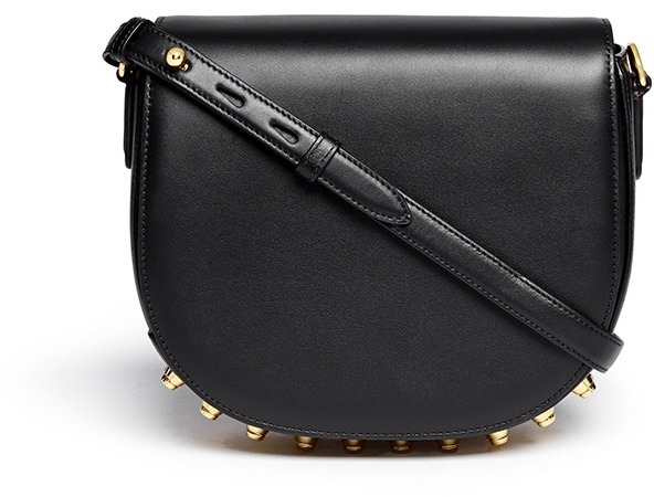 6f6533c575 Lia Stud Leather Messenger Bag. Black and Gold Studded Leather Crossbody Bag  by Alexander Wang
