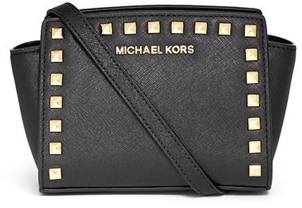 2c823af1638ab1 ... Black and Gold Studded Leather Crossbody Bags Michael Kors Michl Kors  Selma Mini Stud Saffiano Leather Messenger Bag ...