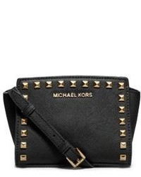 Gold Michael Leather Women's Crossbody From Bags And Black Studded BsrhCtQdx