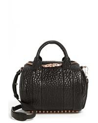 Alexander Wang Rockie Rose Gold Leather Crossbody Satchel Black