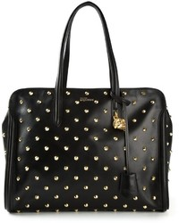 Black and Gold Studded Leather Tote Bag