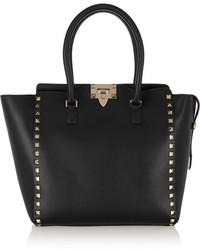 Valentino The Rockstud Medium Leather Tote Black