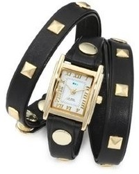 La Mer Collections Lmlw1010a Gold Tone Watch With Black Leather Wrap Around Band