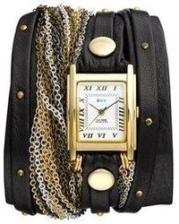 La Mer Collections Venice Leather Chain Wrap Bracelet Watch 30mm X 23mm