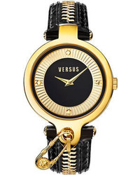 Versus By Versace Key Biscayne Gold Tone Zippered Black Leather Strap Watch 38mm Sob06 0014