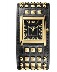 Ladies darby gold tone studded leather cuff watch medium 63852