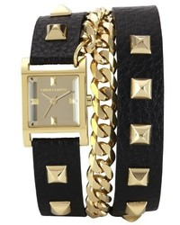 Vince Camuto Vc5088gmbk Square Gold Tone Double Wrap Black Leather Strap Watch