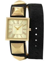 Vince Camuto Watch Black Pony Hair Leather Double Wrap Strap 27mm Vc 5028chbk