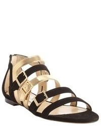 Black and gold suede bloom buckle detail sandals medium 58476
