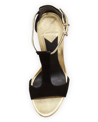 c33db9fbe57 ... Brian Atwood B By Leigha Metallic Suede T Strap Sandal Blackgold ...