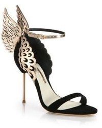 Evangeline black rose suede metallic leather winged sandals medium 450114