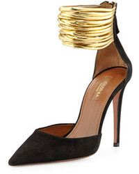 Aquazzura Hello Lover Suede Ankle Strap Pump Black