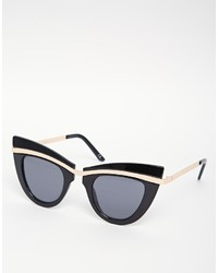 Asos Collection Metal Top Cat Eye Sunglasses With Built Up Highbrow