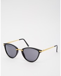 Asos Collection Oval Cat Eye Sunglasses With Metal Nose Bridge