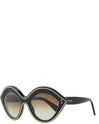 Valentino Chunky Metal Edged Cat Eye Sunglasses Black