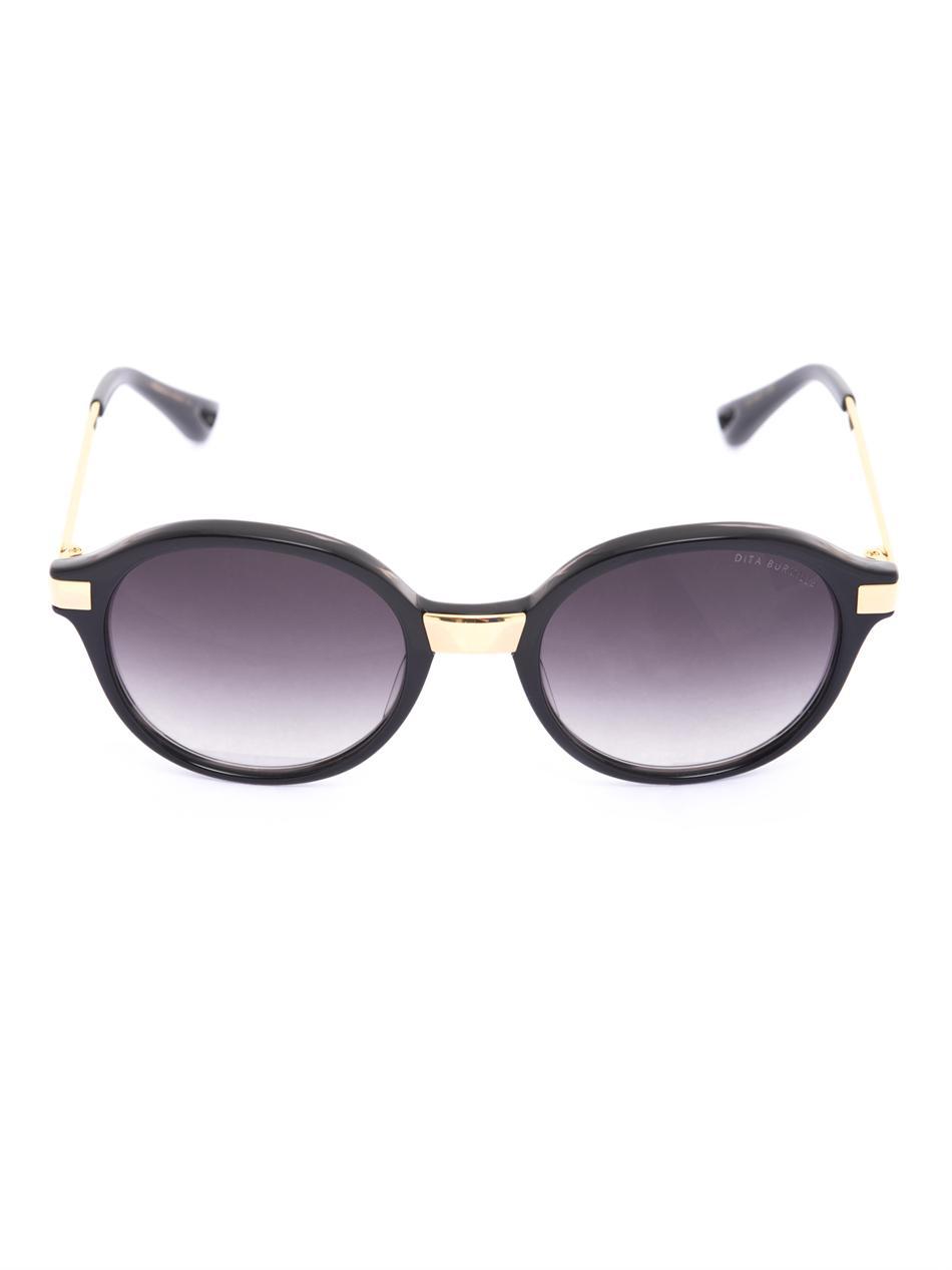 Black and Gold Sunglasses: DITA EYEWEAR Burmilla Round ...