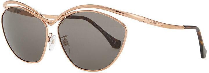 4117d61350011 ... Balenciaga Floating Metal Aviator Sunglasses Rose Golden ...