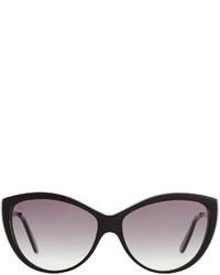 Alexander McQueen Havana Cat Eye Metal Temple Sunglasses Black