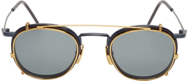 fcae0630aa Thom Browne Matte Navy Gold Clip On Glasses, $775 | SSENSE ...