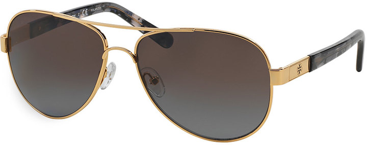 0e33656da92 Metal Aviator Polarized Sunglasses With Acetate Arms Goldengray. Black and  Gold Sunglasses by Tory Burch