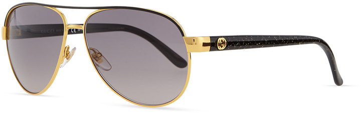 7eab2894460 ... Neiman Marcus › Gucci › Black and Gold Sunglasses Gucci Metal Aviator  Sunglasses Black ...
