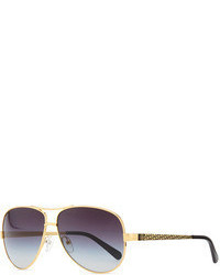 Tory Burch Metal Aviator Sunglasses With Logo Arms Goldenblack