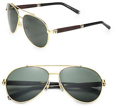 where to buy aviator sunglasses  Montblanc 62mm Metal Aviator Sunglasses