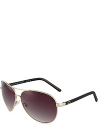 Oscar de la Renta O By Cheetah Large Metal Aviator Sunglasses Golden