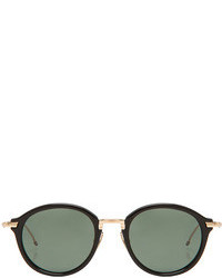 Thom Browne Round Sunglasses In Black Gold