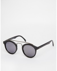 Asos Round Sunglasses With Metal Brow Bar