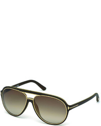 4ed8754f08a3 ... Tom Ford Sergio Injected Aviator Sunglasses Matte Dark Brown
