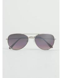 Topman Silver Aviator Sunglasses
