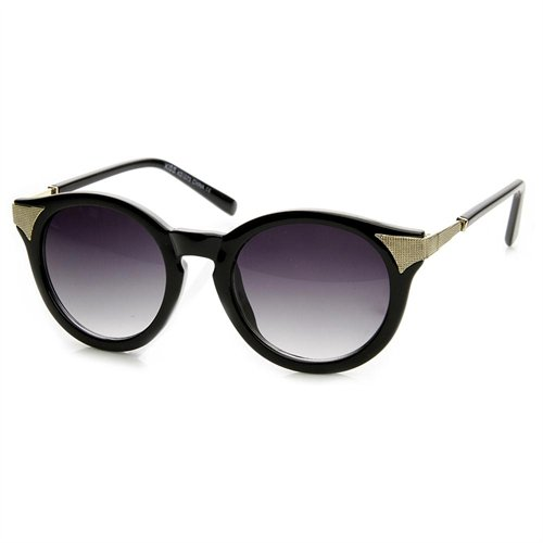 5be0005bf4aa0 ... Black and Gold Sunglasses ZeroUV Fashion P3 Circle Round Cat Eye  Sunglasses