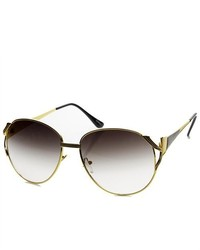 ZeroUV Oversized Metal Color Two Tone Fashion Sunglasses