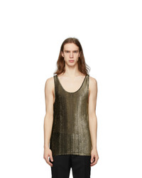 Saint Laurent Black And Gold Lame Tank Top