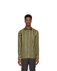 Black and Gold Vertical Striped Long Sleeve Shirt