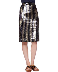 Marc Jacobs Striped Sequined Pencil Skirt