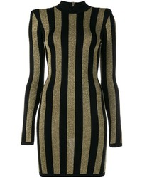 Black and Gold Vertical Striped Sheath Dress