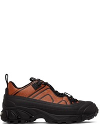 Burberry Black Orange Leather Arthur Sneakers