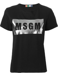 Black and Silver Crew-neck T-shirt