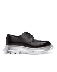 Alexander McQueen Black And Silver Tread Slick Derbys