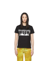 MSGM Black And Silver Logo T Shirt
