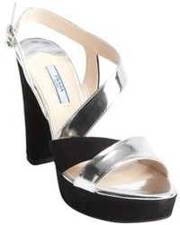 Prada Black And Silver Patent Leather Strappy Suede Heel Sandals