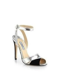 Prada Metallic Leather Suede Evening Sandals
