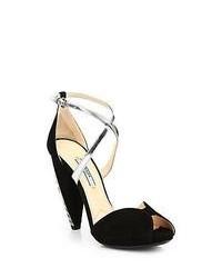 Prada Suede Crystal Heel Sandals Black Silver